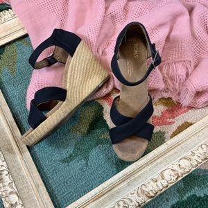 Toms Black Sienna Wedge Sandals